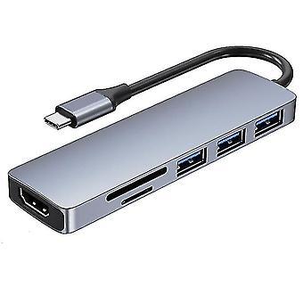 6-in-1 Type C Extension Hub Laptop Computer Peripheral Docking Station Adapter