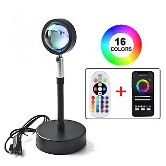 Sunset Lamp Rgb 16 Colors App Remote Control Atmosphere Projection Led Night Light For Home Bedroom Shop Background Decoration