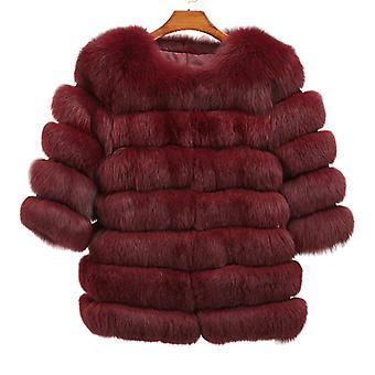 Mimigo 2 Farben Frauen Real Fox Pelz Mantel mit 3/4 Ärmeln Horizontal Streifen Echte Fox Fur Haar Jacke Für warmen Winter