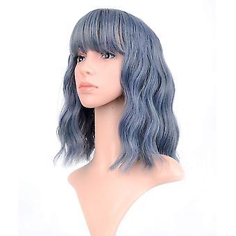 شعر مستعار متموج أزرق داكن