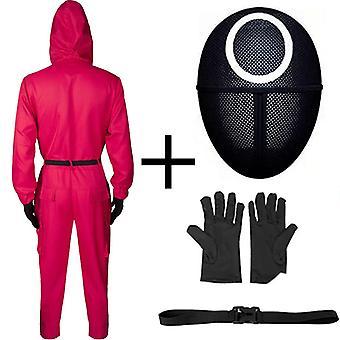 Halloween Squid Hra Cos Oblečenie Squidgame Oblečenie Dospelý kombinéza + opasok + rukavice + maska