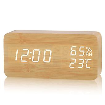 Alarm Clock Digital Clock Digital Alarm Clock Led Wooden Alarm Clock (bamboo White Lamp 15 * 4 * 7cm