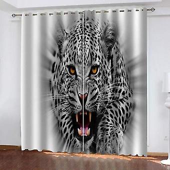 """וילונות סלון מודרניים שחור ולבן 3d חורים קטנים שחור ולבן בעלי חיים צ'יטה האפלה וילונות בידוד תרמי 140x260 ס""""מ"""