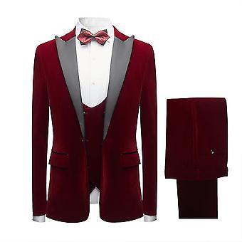 מייל Mens חליפות 3 חתיכות בכושר רזה חתונה רשמית חליפות ארוחת ערב לגברים בלייזר אדום 1 כפתור טוקסידו מעיל מכנסיים מותניים