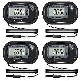 Aquarium LCD-Thermometer, mit Saugnapf und wasserdichter Sonde, geeignet für Aquarium Aquarium (4er Pack)