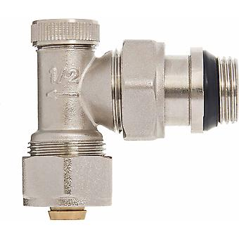 "Manual Angled Radiator Valve 16mm PEX compression fittings x 1/2"" BSP"