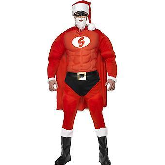 Super Santa Kostüm Muskelanzug Weihnachtsmann Nikolaus Superheld