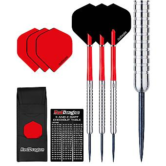 Red Dragon Hell Fire A: 22g - 80% Tungsten Steel Darts with Flights, Shafts, Wallet & Red Dragon Checkout Card