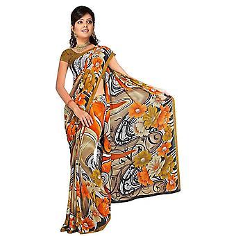 Daya Georgette stampata Casual Sari Sari Bellydance tessuto