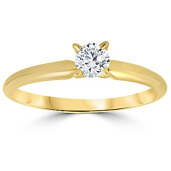 1 / 3ct runde Diamond kabal forlovelsesring 14k gult gull