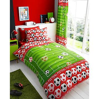Goal Red Football Soccer Kids Single Duvet Cover Children Rotary Bedding Set