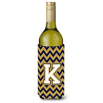 K-kirjain Chevron Tummansininen ja kulta viinipullo juoma eriste Hugger