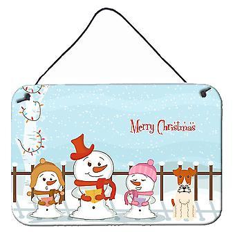 Merry Christmas Carolers Wire Fox Terrier Wall or Door Hanging Prints