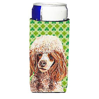 Red Miniature Poodle Lucky Shamrock St. Patrick's Day Ultra Beverage Insulators