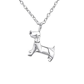 Origami Dog - 925 Sterling Silver Plain Necklaces - W26045X