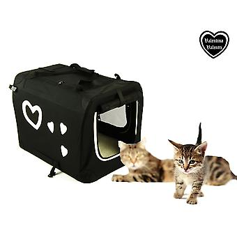 Valentina Valentti Pet cat mici Dog transportator transport Crate Hearts S Dimensiune B/W