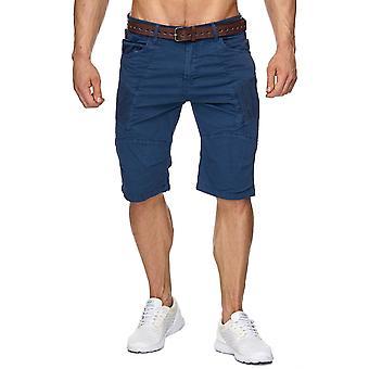 Men's Shorts Biker Chino Bermuda Cuba Shorts incl. belt short trousers Cargo blue