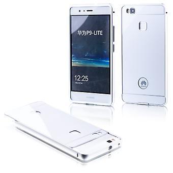 Aluminiowe zderzak 2 kawałki z osłoną srebrna dla Huawei P9 Lite torba sleeve case