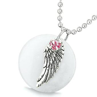 Amulet Angel Wing White Jade Medallion Pink Swarovski Elements Heart Lucky Feather Pendant Necklace