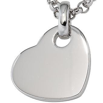 Collar chapado en rodio corazón 925 plata de ley corazón colgante
