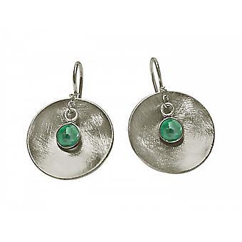 Senhoras - brincos - brincos - Esmeralda 925 de prata - bandeja - - verdes - 3cm