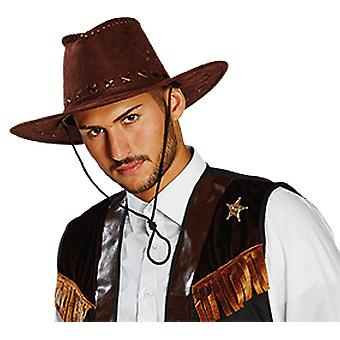Kowbojski kapelusz zamsz wygląda akcesoria brązowy ciemny kapelusz karnawał dziki zachód