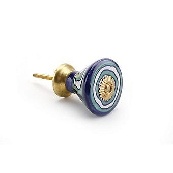 Manija de cerámica del cajón CGB regalos espiral azul/blanco