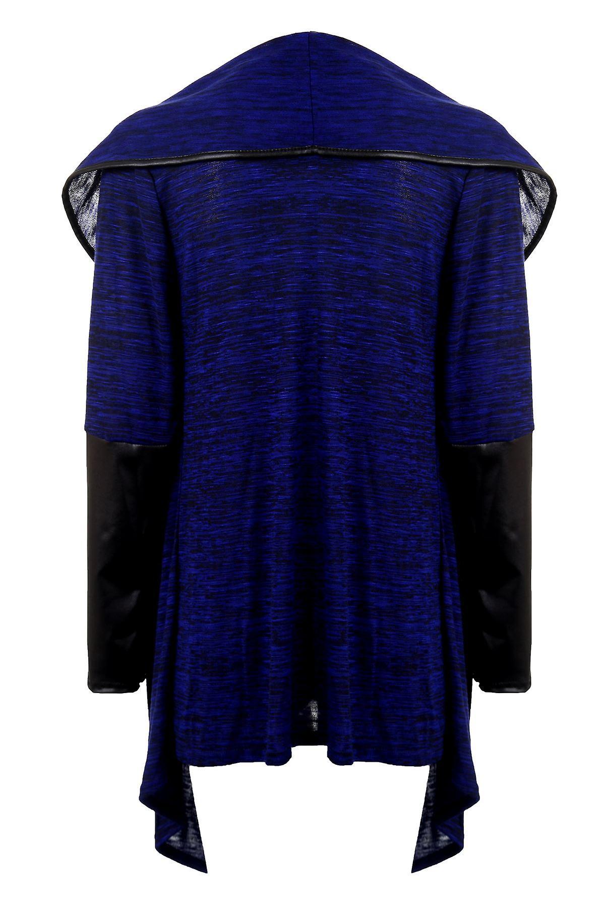 Ladies Wet Look Long Sleeve Multi Textured Plain Women's Waterfall Cardigan