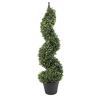 90cm (3ft) Tall Artificial Boxwood Tower Tree Topiary Spiral Metal Top