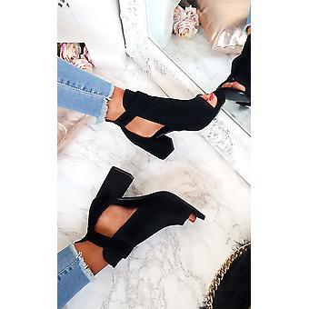 IKRUSH Womens Dezi fivela Peep Toe Ankle Boot