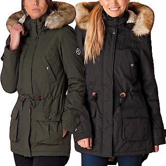 Puffa Womens Laguna Full Zip Popper Overlay Faux Fur Hooded Parka Coat Jacket