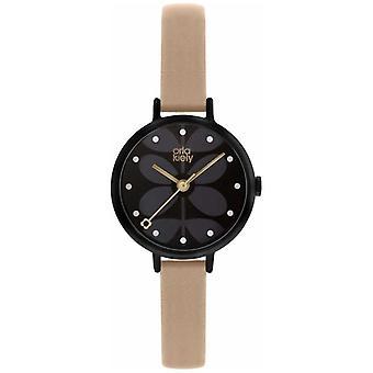 Orla Kiely | Ladies Ivy | Quadrante nero | Cinturino in pelle rosa | OK2250 orologio