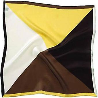 David Van Hagen 4 Colour Silk Pocket Square - Brown/Yellow