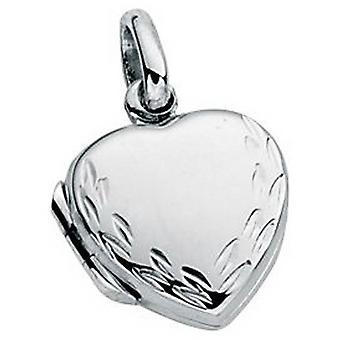 Petit de débuts gravé coeur médaillon pendentif - Silver