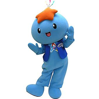 mascot SPOTSOUND blue snowman with a star on the head