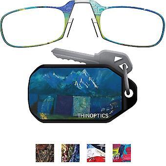 نظارات القراءة خفيفة Armless ثينوبتيكس مع القضية مصمم سلسلة المفاتيح
