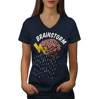 Brains Science Creative Women NavyV-Neck T-shirt | Wellcoda