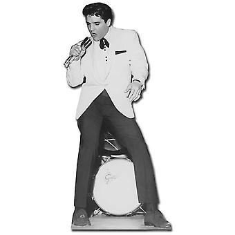 Elvis zingen in witte jas met trommel - Lifesize karton gestanst / Standee