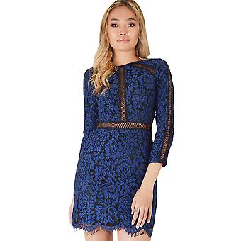Goldie London Black Bodycon Dress With Navy Blue Lace Overlay