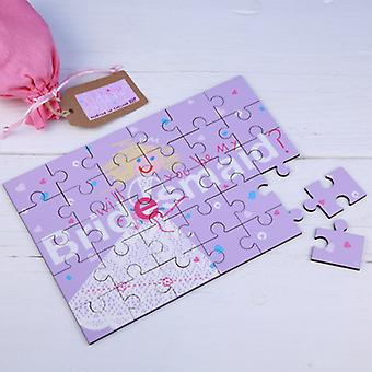Will You be my Bridesmaid Secret Message Wooden Jigsaw