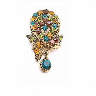 Flerfarvede krystaller broche vedhæng dinglende antik Vintage broche