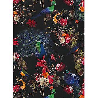 Kwiatowy kwiaty pawie tapet czarny czerwony niebieski Erismann winylu ściany
