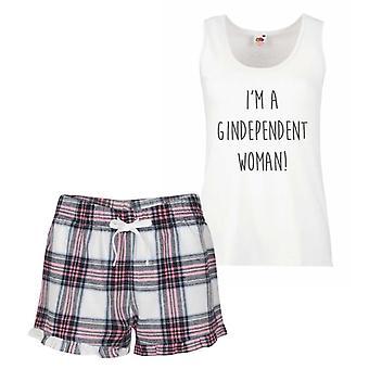 Jag är en Gindependent kvinna rosa Tartan Pyjamas