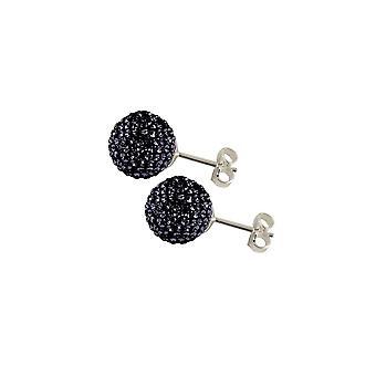 Eternal Collection Shamballa 10mm Jet Black Glitter Ball Silver Tone Stud Pierced Earrings