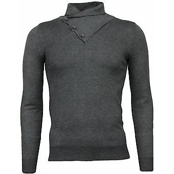 Casual sweater-colcollar Basic Design-Grey