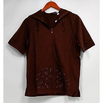 Quacker Factory Women's Sweater Short Sleeve Zip-Up w/ Hood Brown A225701