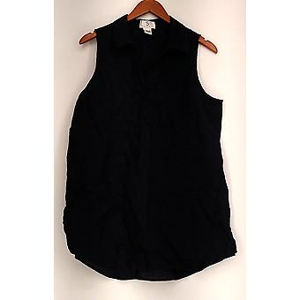 OSO Casuals Top Sleeveless Patch Pocket Pullover Half Placket Blue A424570