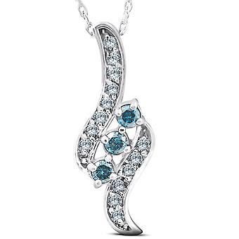 1 / 3ct 3 - Stone Blue Diamond riipus 14 KT White Gold
