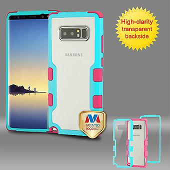 MYBAT Natural Teal Green Frame+Transparent PC Back/Electric Pink TUFF Vivid Hybrid Protector Cover  for Galaxy Note 8