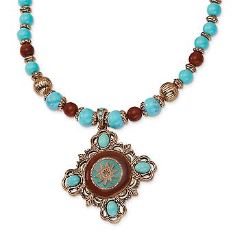Fancy Lobster Closure Copper tone Aqua and Brown Beads Enameled 16inch With Ext Necklace Jewelry Gifts for Women